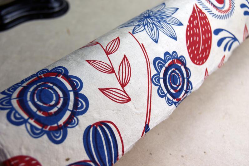 Handmade Paper Gift Wrap - Danish Garden Lotka